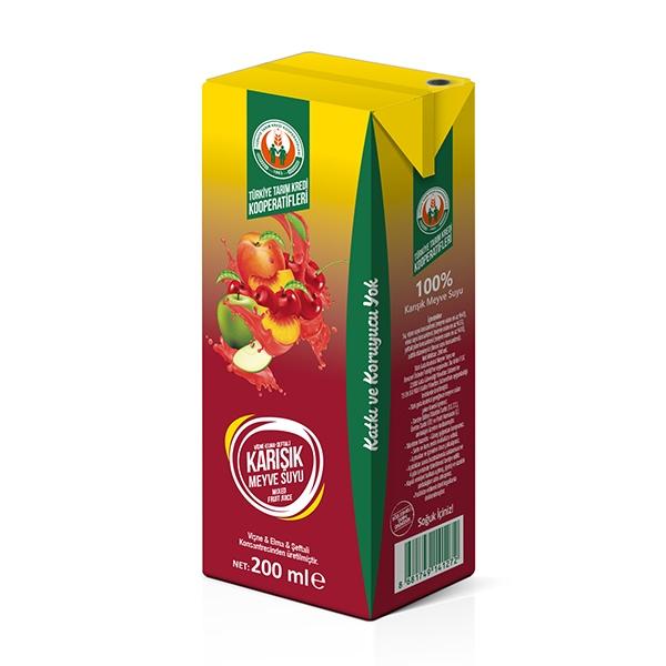 %100 Kırmızı Karışık Meyve Suyu 200 ml