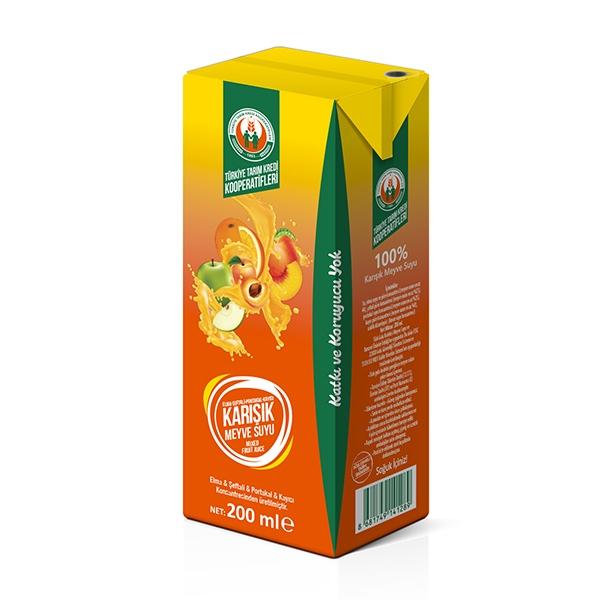 %100 Sarı Karışık Meyve Suyu 200 ml