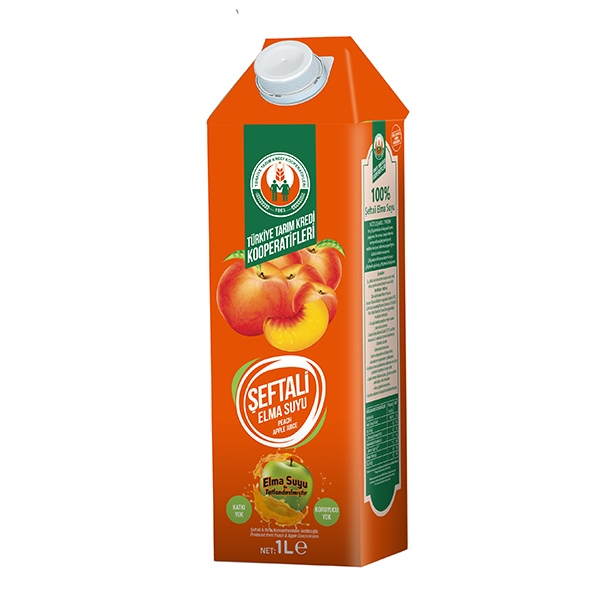 %100 Elma + Şeftali Suyu 1000 ml