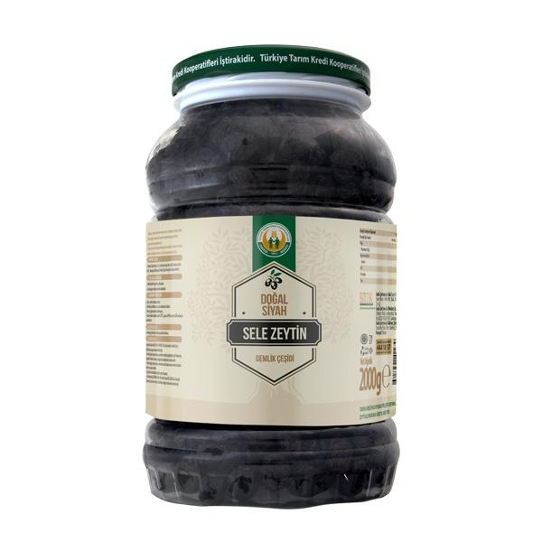 Doğal Siyah Sele Zeytin -M- (2000 g)